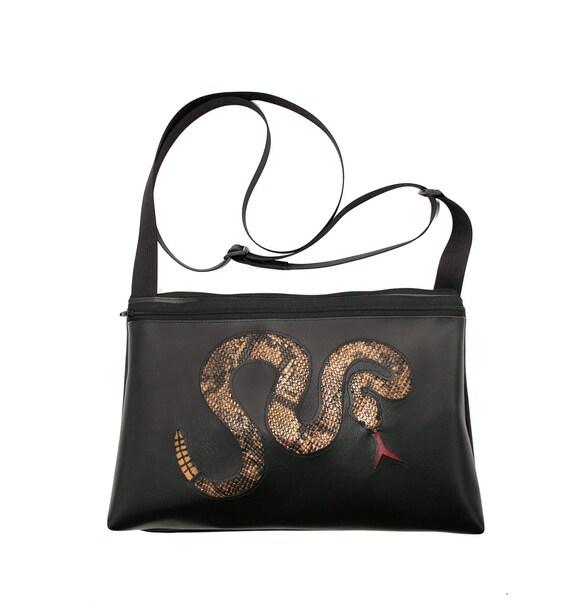 Rattlesnake, black vinyl, medium crossbody, vegan leather, zipper top