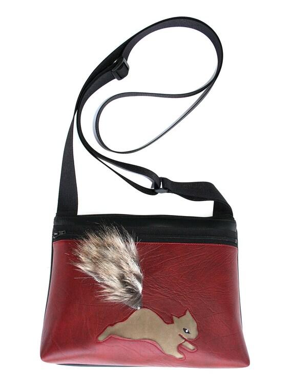 Squirrel, fake fur, dark red vinyl, boxy cross body, vegan leather, zipper top