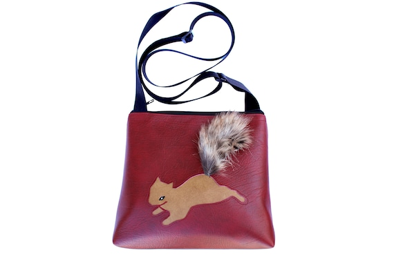 squirrel, dark red, tan, faux fur, vinyl, vegan, crossbody, mid-size