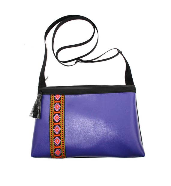 SALE! Purple vinyl, vintage trim, boho, medium crossbody, vegan leather, zipper top, tassel