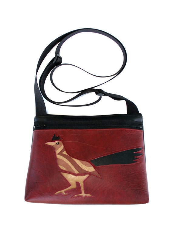 Roadrunner, dark red vinyl, boxy cross body, vegan leather, zipper top