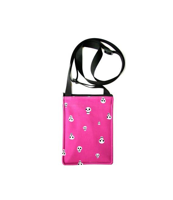 SALE! skulls, hot pink, Halloween, small cross body, vegan leather, zipper top, passport bag, adjustable strap