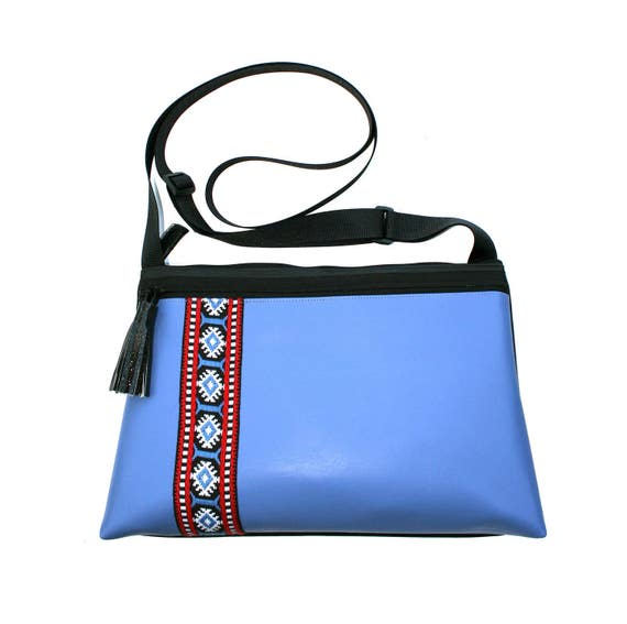 SALE! Blue vinyl, vintage trim, boho, medium crossbody, vegan leather, zipper top, tassel