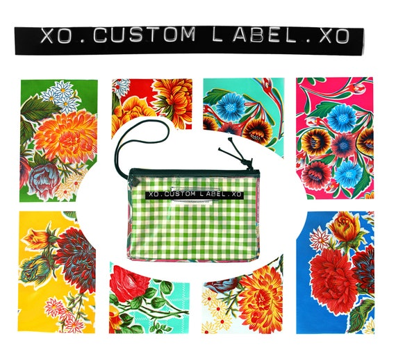 Custom, label maker, clear, wristlet, flat bag, small bag, zipper pouch, oilcloth