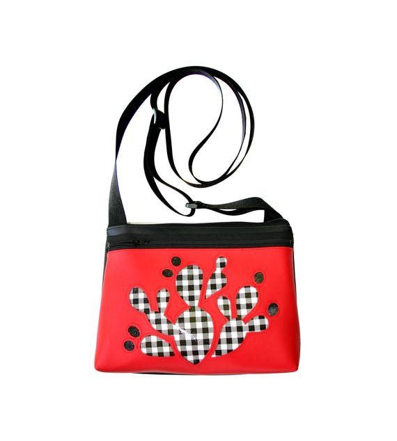 Cactus, black and white check, glitter vinyl, boxy cross body, vegan leather, zipper top