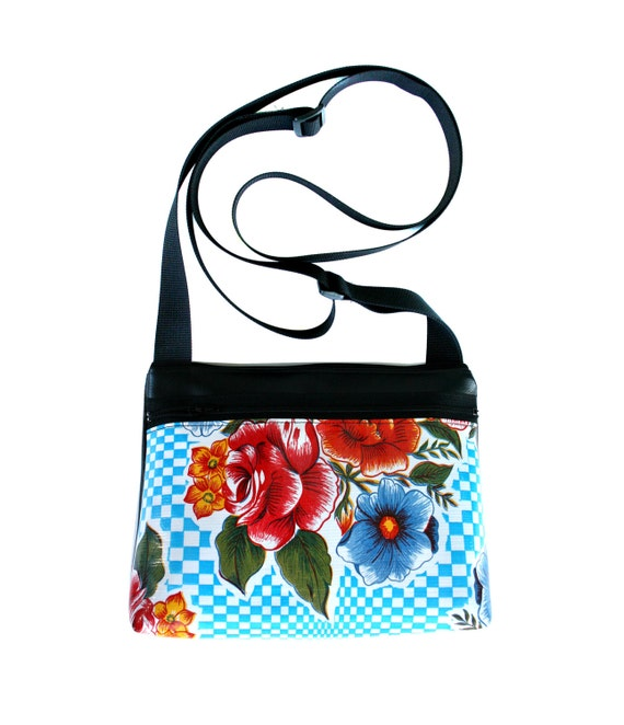 SALE! Blue, checkered, oil cloth, floral, boxy cross body, vegan leather, zipper top