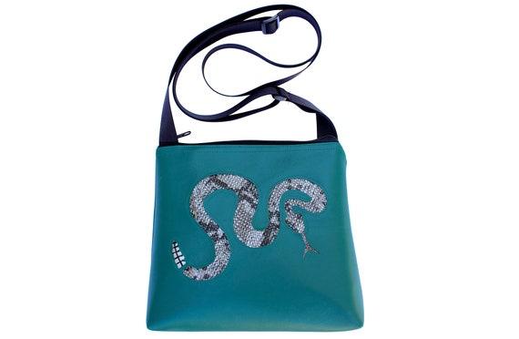 rattlesnake, snake, silver,  turquoise, vinyl, vegan, crossbody, mid-size
