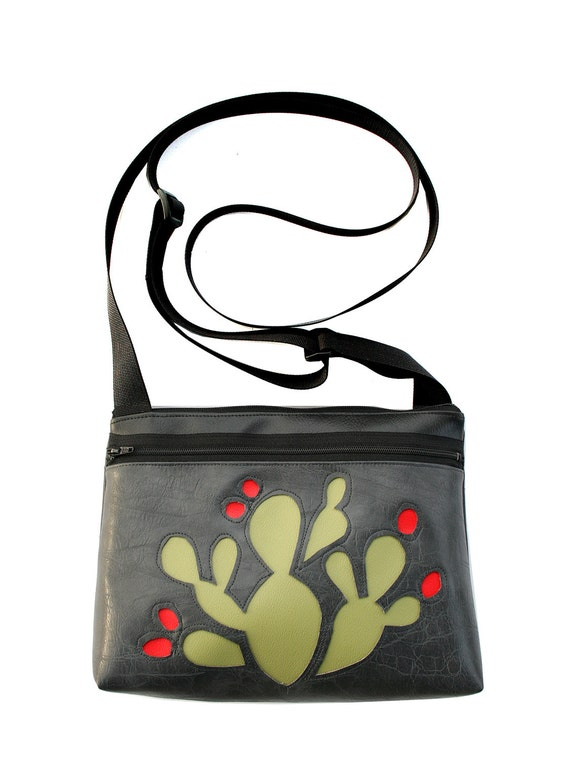 Green cactus, red blooms, grey, boxy cross body, vegan leather, zipper top