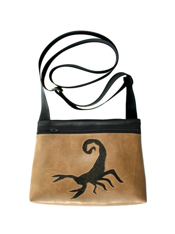 Scorpion, black glitter vinyl, tan, boxy cross body, vegan leather, zipper top
