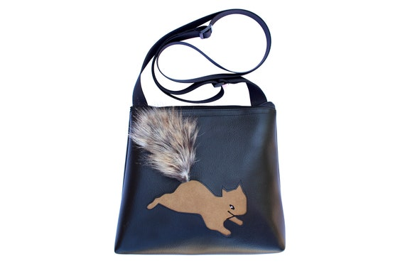 squirrel, black, faux fur, vinyl, vegan, crossbody, mid-size