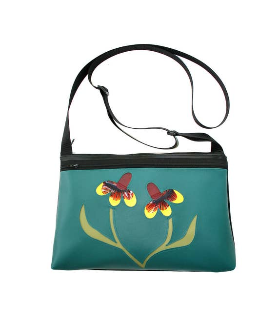 Mexican Hat, wildflower, Texas, turquoise vinyl, medium crossbody, vegan leather, zipper top