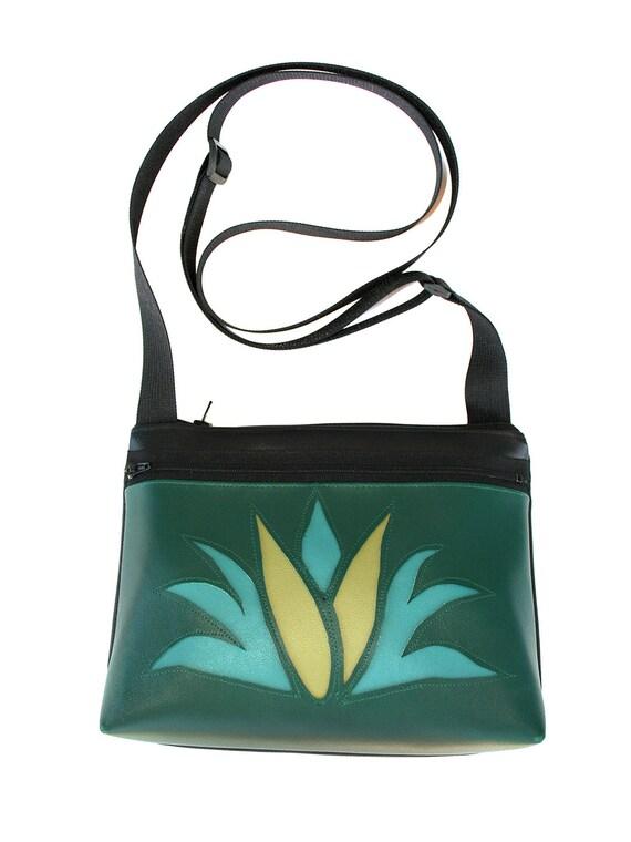 Agave, cactus, dark green, boxy cross body, vegan leather, zipper top