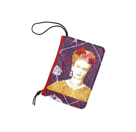 Frida, Frida Kahlo, clear, wristlet, flat bag, small bag, zipper pouch