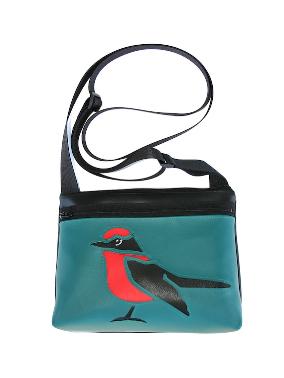 bird, red and black, aqua vinyl, boxy cross body, vegan leather, zipper top