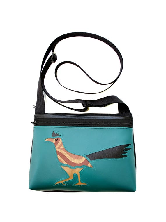 Roadrunner, turquoise vinyl, boxy cross body, vegan leather, zipper top