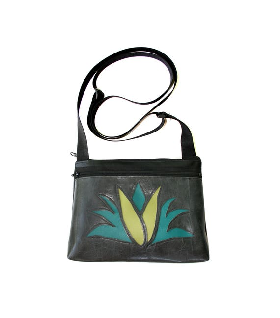 Agave, cactus, dark grey, boxy cross body, vegan leather, zipper top