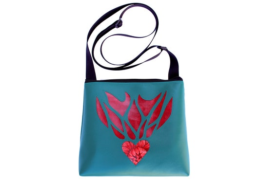 heart, flaming heart, red, turquoise, vinyl, vegan, crossbody, mid-size