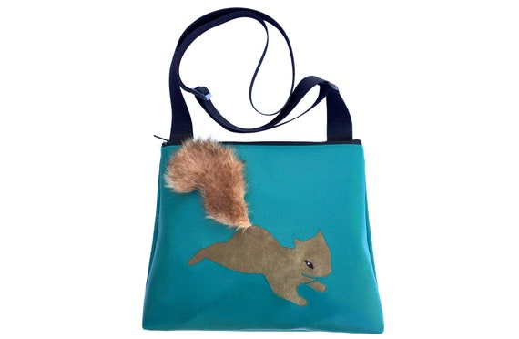 Squirrel, fake fur, turquoise, vegan, vegan leather, large, cross body bag