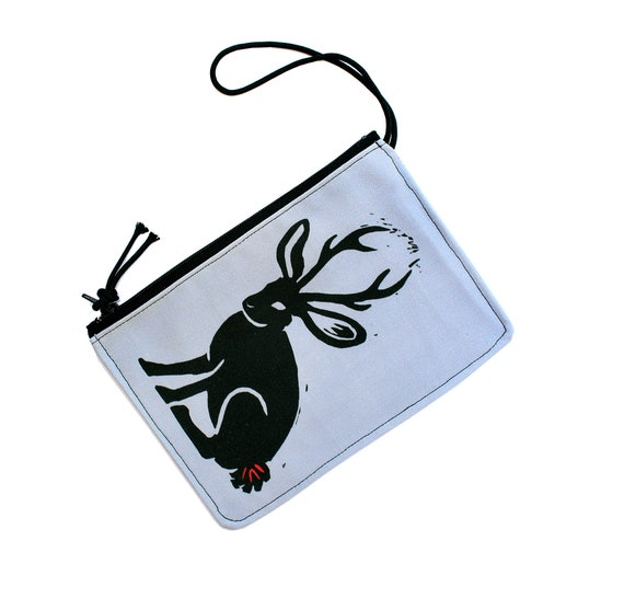 Jackalope, wristlet, flat bag, small bag, zipper pouch, clear, vegan