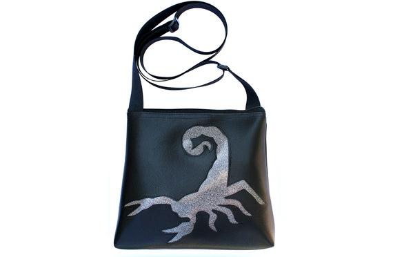 scorpion, glitter vinyl, silver, black, vinyl, vegan, crossbody, mid-size
