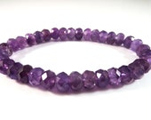 Amethyst Stretch Bracelet 8mm Purple Faceted Rondelle Sparkly Deep Dark Gemstone Beads Big Chunky Boho Elegant Stack Layer Unisex Bright
