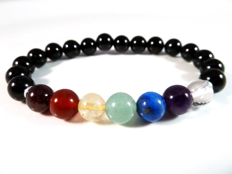 Mens Black Tourmaline Seven 7 Chakra Stretch Bracelet 8mm Smooth Round Gemstone Beads Rainbow Garnet Carnelian Citrine Aventurine Lapis Boho