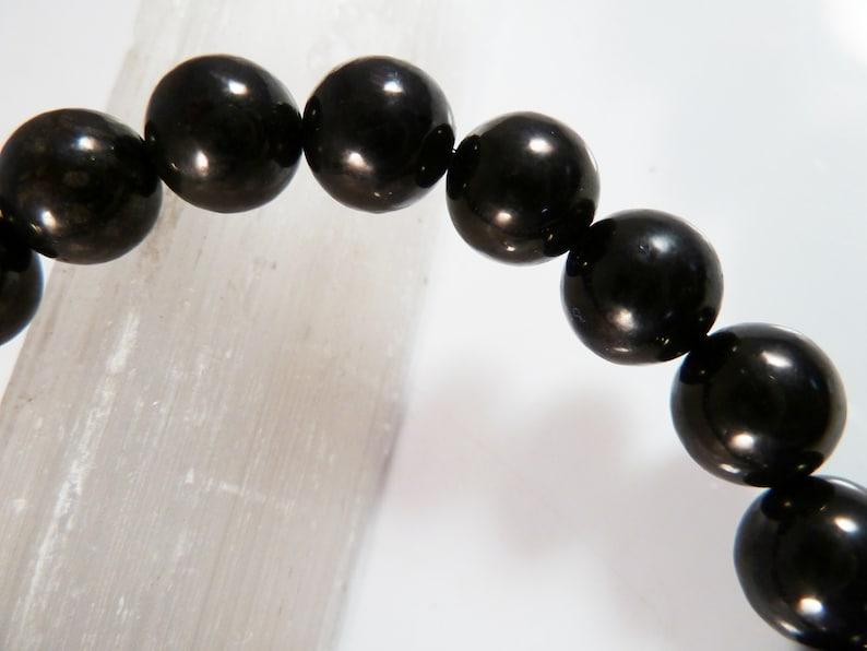 Jet Stretch Bracelet 8mm Smooth Round Polished Bead Bracelet Lignite Black Witches Amber Dark Gray Gemstone Stack Layer Unisex Gift Light