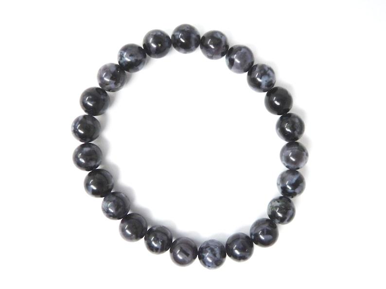 Indigo Gabbro Stretch Bracelet 8mm Round Bead Bracelet Smooth Polished Dense Black Gemstone Big Large Chunky Statement Stacking Unisex RARE