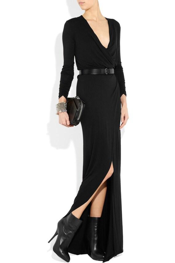 Formal Wrap Effect Black Maxi Dress Long Sleeves Wrap Floor Etsy