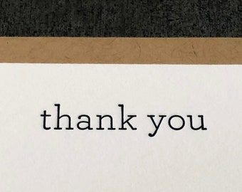 Thank You Serif Letterpress Notecard Set of 10