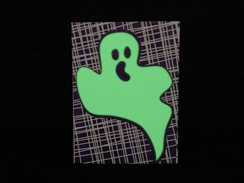 Glow in the Dark Ghost Halloween Letterpress Card image 0