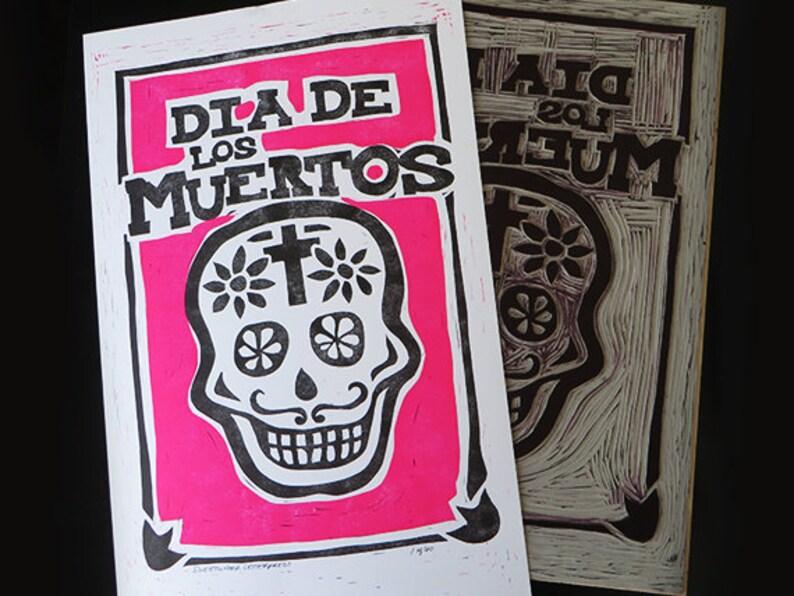 Dia de los Muertos Linoleum Cut Print  Limited Edition Neon image 0
