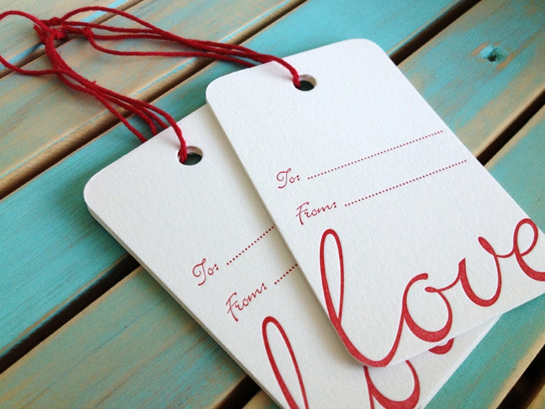 Love Letterpress Gift Tags  10 pack image 0