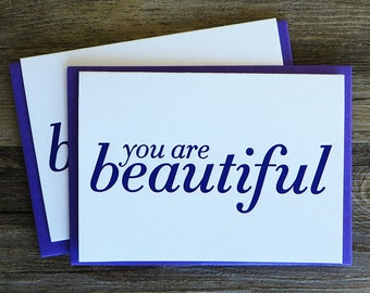 You Are Beautiful Letterpress Card