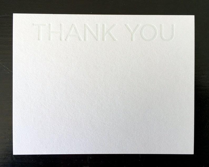 Thank You Grey Tonal Letterpress Notecard Set of 10 image 0