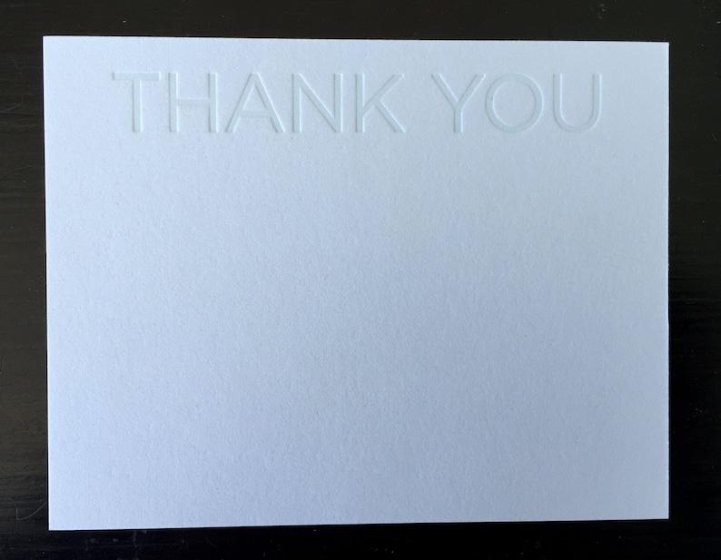 Thank You Blue Tonal Letterpress Notecard Set of 10 image 0
