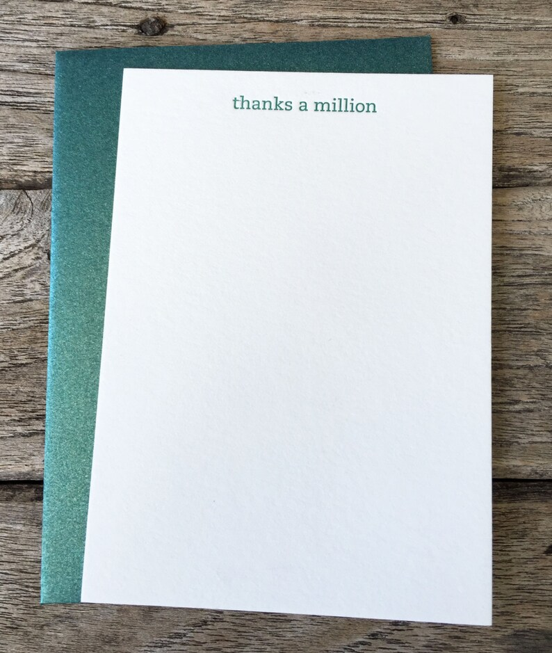 Thanks a Million Letterpress Notecard Set of 10 image 0