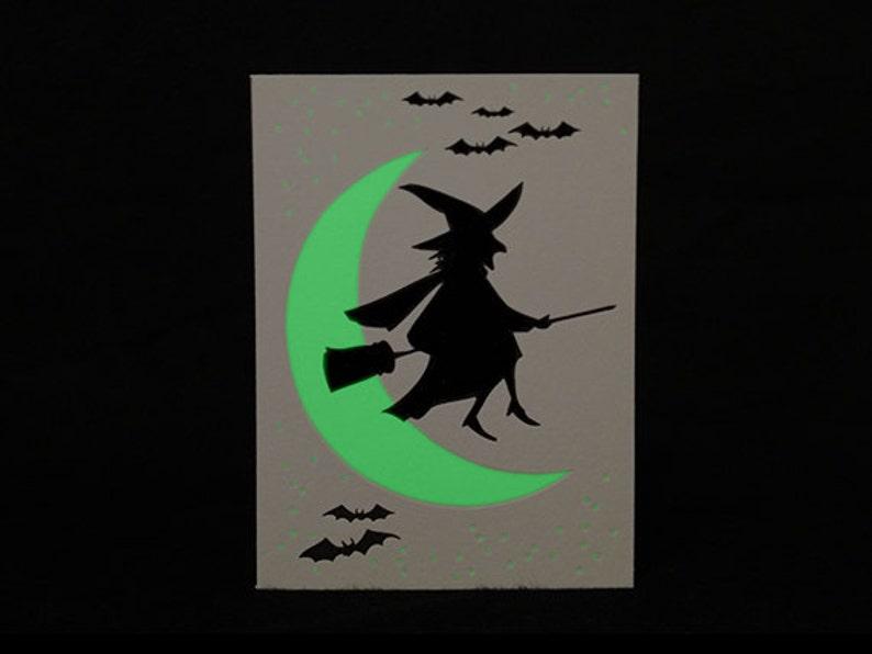 Glow in the Dark Witch Halloween Letterpress Card image 0