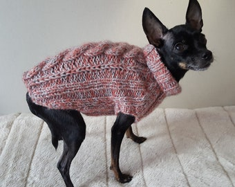 1f8788dd58d0 Pink- Gray Cable Knit Dog Sweater -Small Dog Sweater-Chihuahua sweater-Pet  Sweater-Dog Costume Multiple sizes