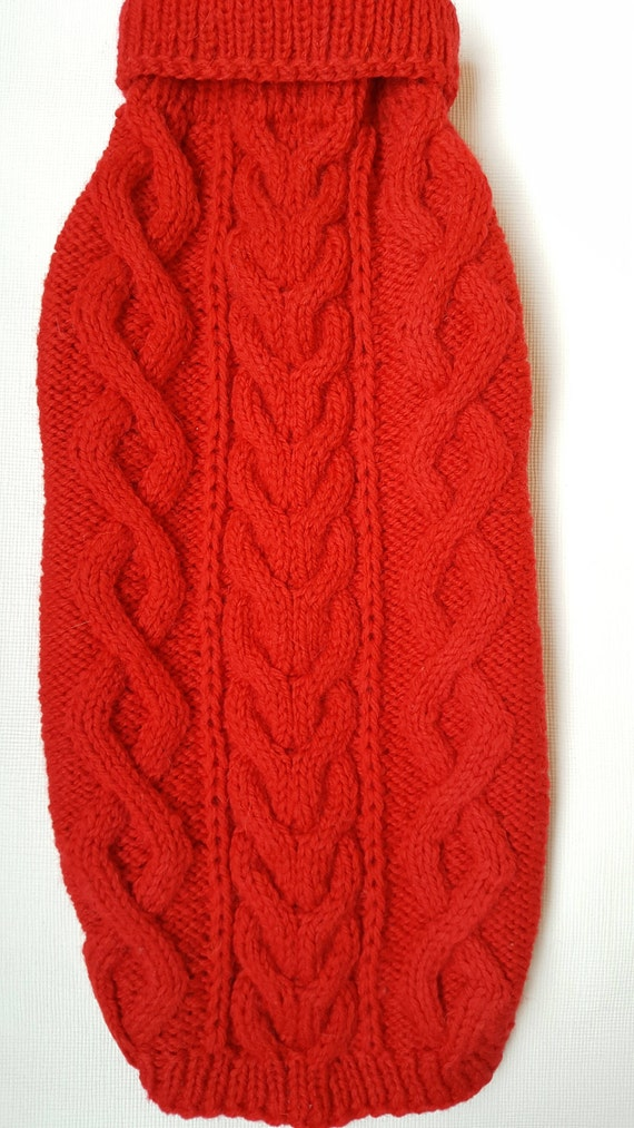 dfaf9e94d Red Cable Knit Dog Sweater-Knitted Dog Sweater-Dog