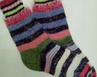 Tejido a mano lana de calcetines - colorido para la mujer-calcetines de lana tamaño grande US W 9-9.5, UE 41