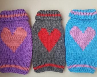 Hand Knit Heart Design Dog Sweater -Small Dog Sweater-Chihuahua sweater-Pet Heart Sweater-Dog Heart Costume size XS- S -M