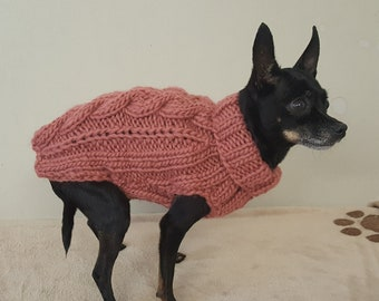 Pink Cable Knit Dog Sweater -Small Dog Sweater-Chihuahua sweater-Pet Sweater-Dog Costume Multiple sizes