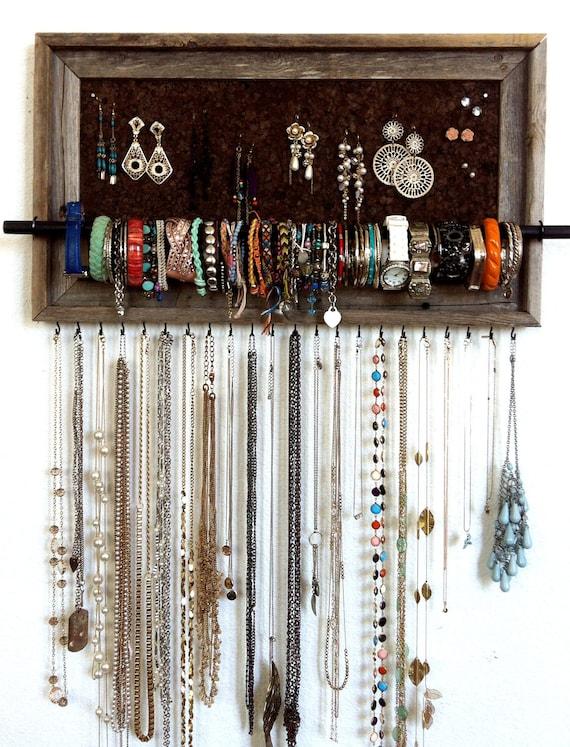 Items similar to 13x23 Custom Barn Wood Frame Jewelry Organizer on Etsy