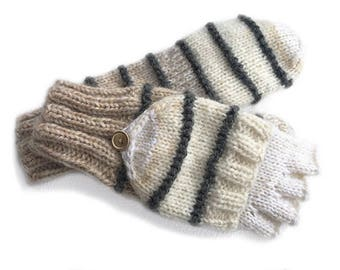 Beige convertible mittens/ finger flip mittens/ flip top gloves/ winter finger gloves with mittens