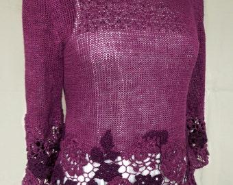 Freeform crocheted women's jumper/ knitted summer jumper/ crocheted jumper/ purple jumper