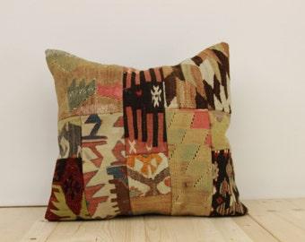 "FREE SHIPPING-Modern Bohemian Home Decor,Handwoven Turkish Kilim Patchwork Pillow Cover 19""x19"",Tribal Pillow,Vintage Kilim Pillow"