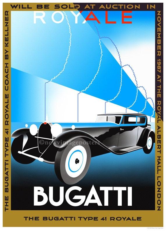 FREE UK P/&P ART DECO BUGATTI  VINTAGE ADVERTISING ART PRINT
