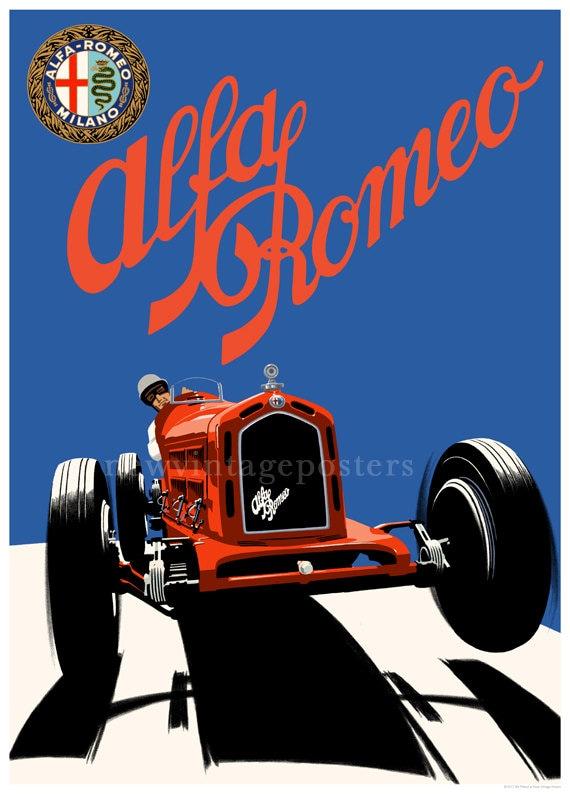 Art Deco Alfa Romeo C Poster Giclee Print Etsy - Alfa romeo poster