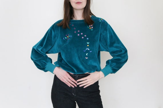 vintage  90s velvet velour sweatshirt green blue